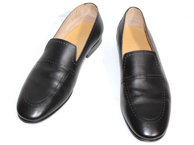 HERMES エルメス 革靴 ビジネスシューズ メンズ42  ブラック レザー ソルド品 (2148103310089) 【432】