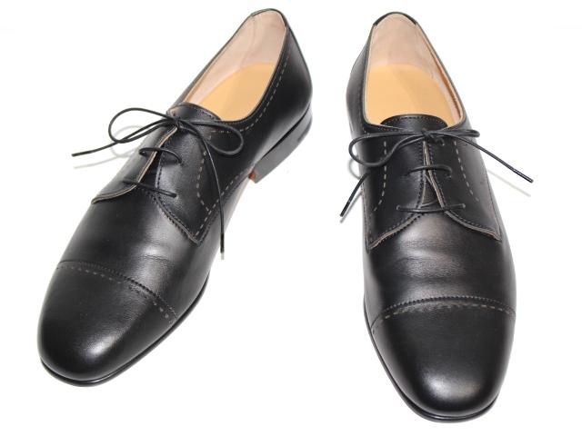 HERMES エルメス 革靴 ダービーアンセルム メンズ41 約26cm カーフ ブラック (2147300268667) 【200】