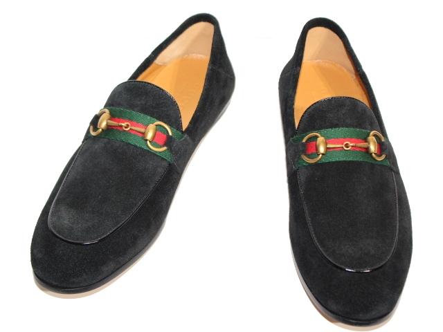 GUCCI グッチ 革靴 ローファー メンズ7ハーフ 約26.5cm ブラック スエード 581513 (2148103316937) 【200】