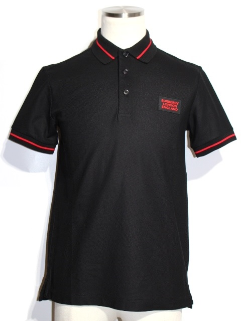 BURBERRY バーバリー ポロシャツ メンズXS ブラック コットン 8025972 (2148103317743) 【200】