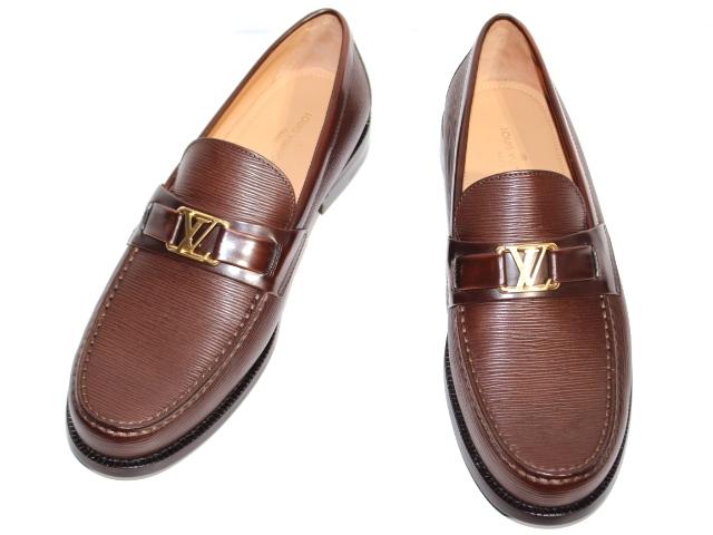 LOUIS VUITTON ルイ・ヴィトン メジャー・ライン ローファー 革靴 メンズ7 約26cm ブラウン レザー 2020年 (2148103335228) 【200】