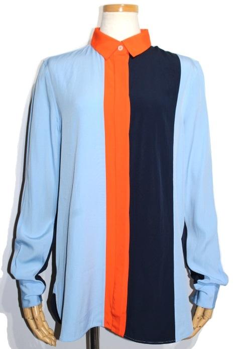 CELINE セリーヌ シャツ レディース40 ライトブルー ネイビー オレンジ アセテート (2148103309922) 【200】