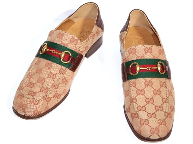GUCCI グッチ 革靴 ローファー メンズ8ハーフ 約27.5cm ベージュ ブラウン ファブリック 546223 (2148103323461) 【200】