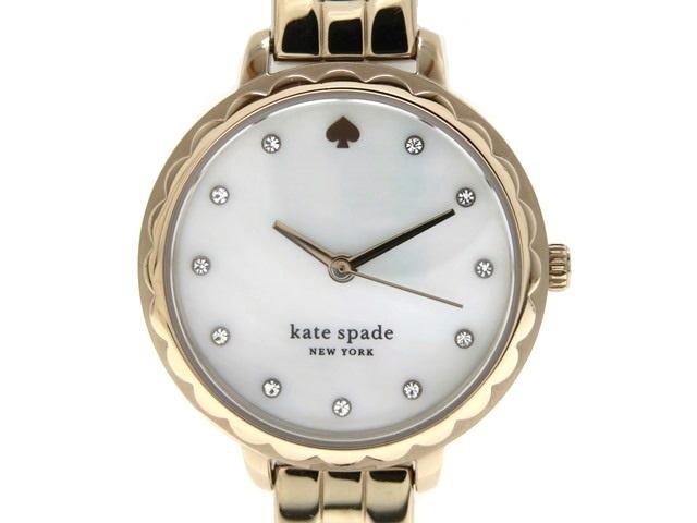 kate spade ケイトスペード 女性用腕時計 モーニングサイドスカラップスリーハンド KSW1555 ステンレス ローズゴールド ホワイトシェル文字盤 クオーツ 【474】