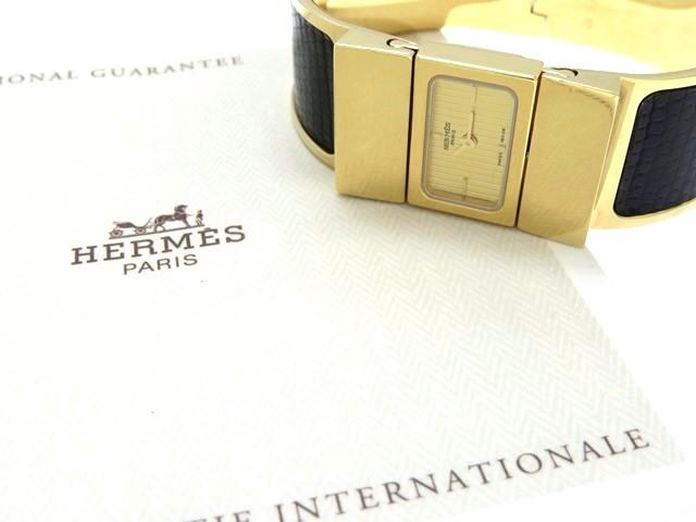 HERMES エルメス 女性用腕時計 レディース ゴールドメッキ ゴールド文字盤 リザード ブラック クオーツ LO1.201 【474】