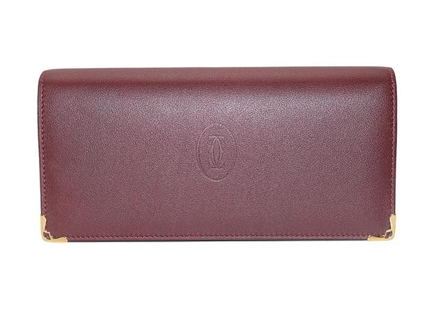 Cartier カルティエ マストドゥカルティエ 二つ折長財布 ボルドー カーフ L3001363 参考定価¥71,500- 【433】