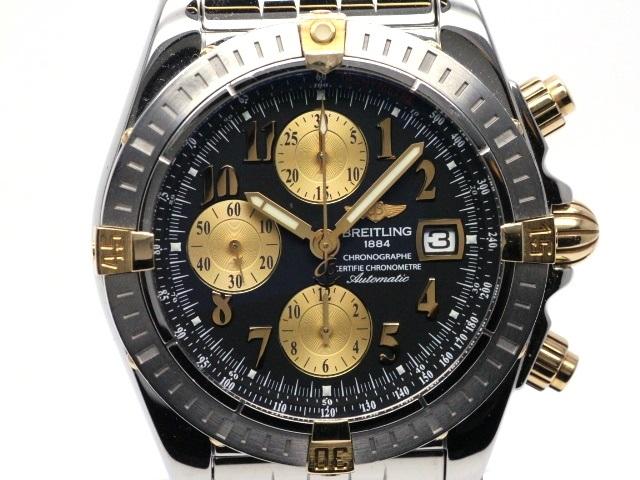 BREITLING ブライトリング 時計 クロノマットエボリューション ビコロ B13356 ブラック文字盤 SS ステンレス YG イエローゴールド (2147000128155)【200】