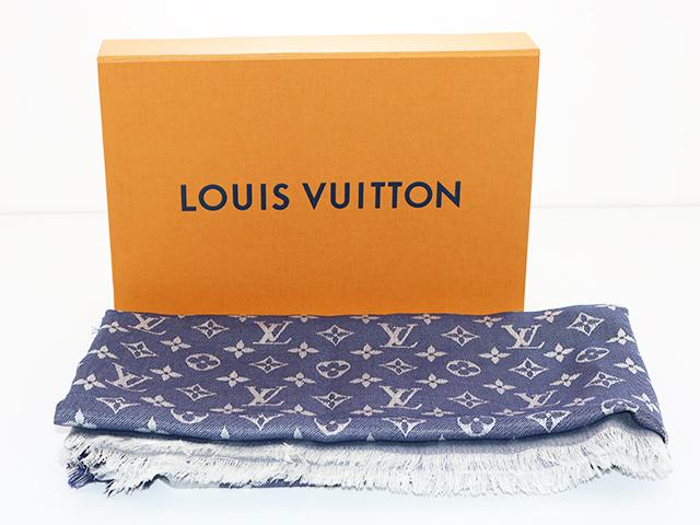 LOUIS VUITTON ルイヴィトン ショールモノグラムデニム ブルー シルク/ウール M71376 参考定価\64,900- 香水ニオイ有り【433】