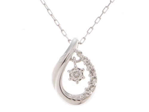 4℃ ヨンドシー 貴金属 宝石 ジュエリー ネックレス ダイヤモンド K10 ホワイトゴールド 1.6g【473】