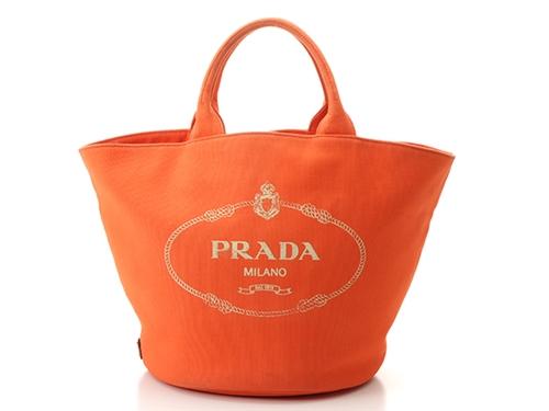 PRADA プラダ バッグ ハンドバッグ カナパ ファブリック オレンジ キャンバス【430】2148103144288