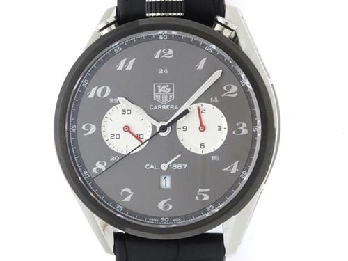 TAG HEUER タグホイヤー 時計 カレラ1887 クロノグラフ・100周年記念モデル CAR2C14.FC6327 グレー文字盤 メンズ オートマチック SS/ラバー/革【433】