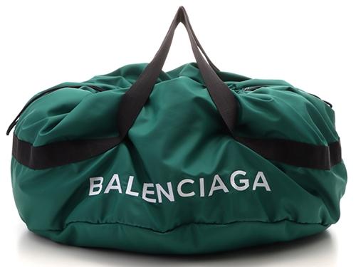 BALENCIAGA バレンシアガ ホイール ボストンバッグ グリーン/ブラック ナイロン hh【472】