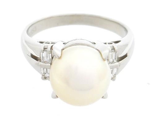 JEWELRY 貴金属・宝石 リング 指輪 パールリング PT850 プラチナ 真珠 あこや真珠 パール ダイヤ 0.18ct 6.4g 12号 【205】