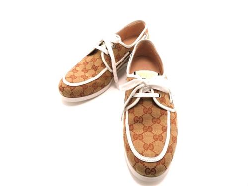 GUCCI グッチ 革靴 デッキシューズ 8ハーフ 約27.5cm ベージュ GGキャンバス 2143000484598 【200】
