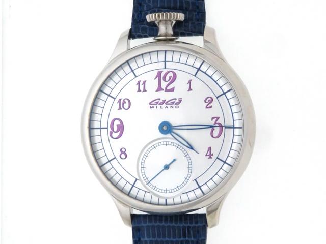ガガミラノ 時計 メンズ 手巻き シルバー 世界限定250本 シルバー925 ブルー革 【436】