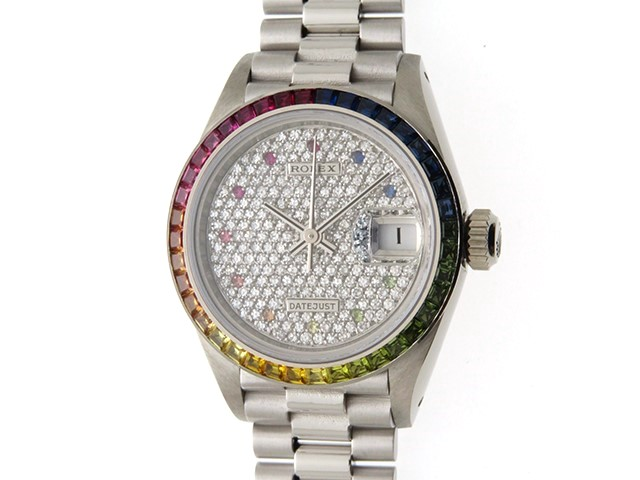 ROLEX 時計 デイトジャスト 69119 自動巻き ダイヤ文字盤 レインボーベゼル WG 女性用時計【430】
