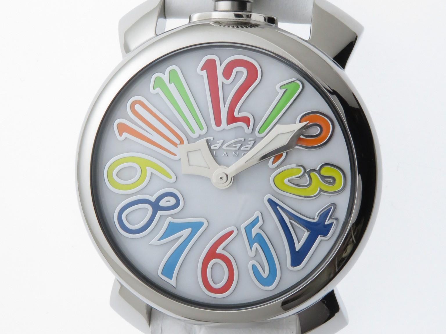 GaGa MILANO 時計 ガガミラノ マヌアーレ 5020 クオーツ マルチカラーインデックス SS/革 男性用時計 2143000528407【430】