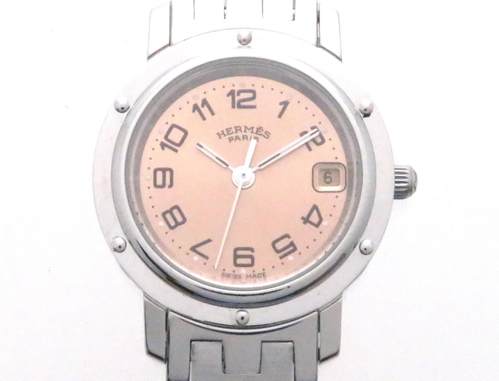 HERMES エルメス クリッパー CL4.210 クオーツ レディース腕時計 ステンレススチール 【205】