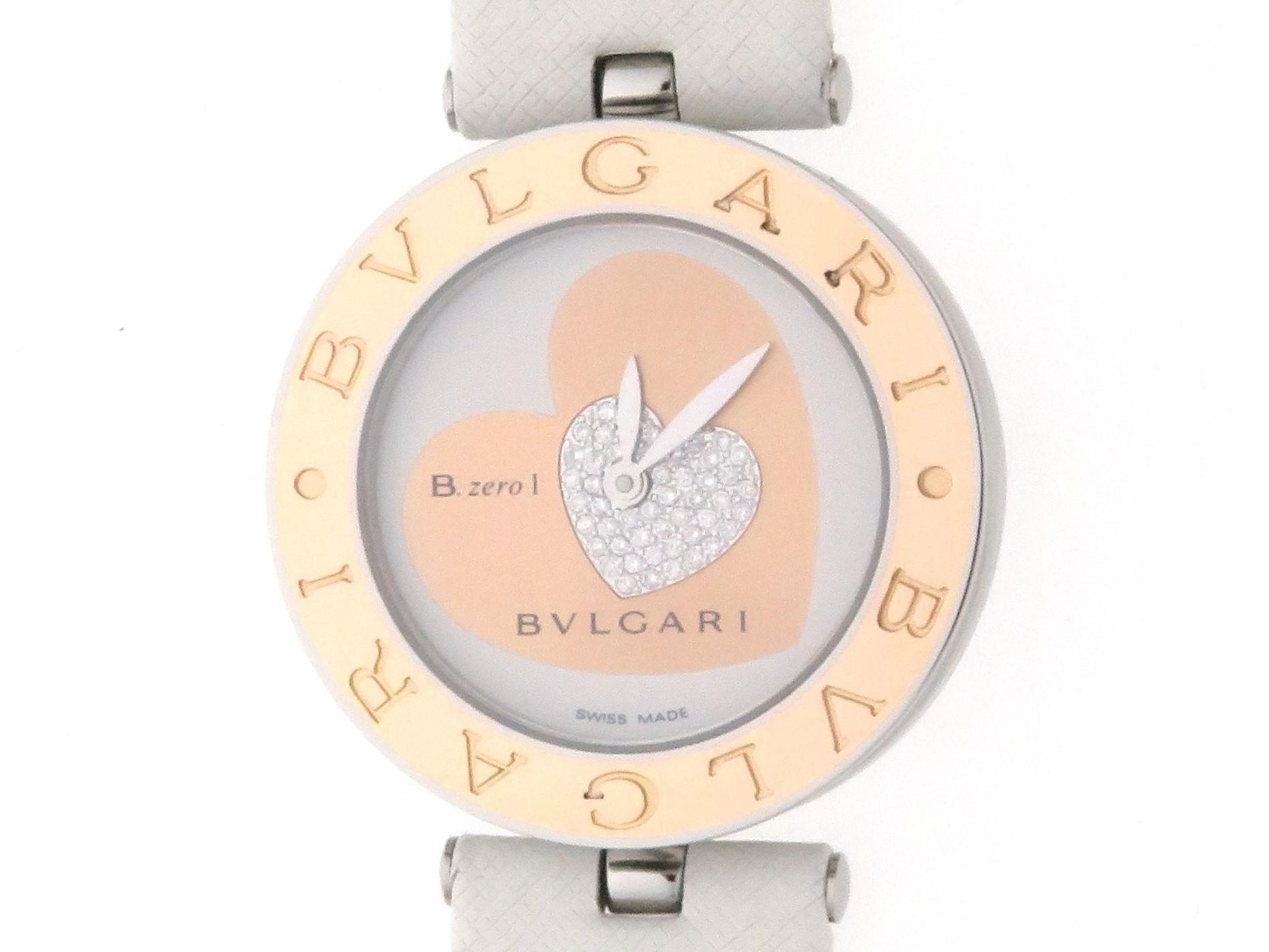 【ダブルハート】BVLGARI ブルガリ B-zero1 BZP30S SS/PG/革ベルト(Dバックル) ホワイト/ピンク/ダイヤ文字盤 レディース クオーツ 【436】