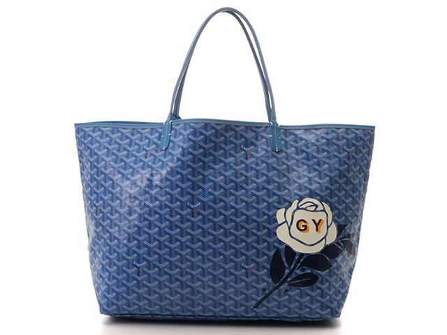 GOYARD ゴヤール サンルイGM トートバッグ ブルー PVC/カーフ イニシャル(GY)入り 【431】 image number 0
