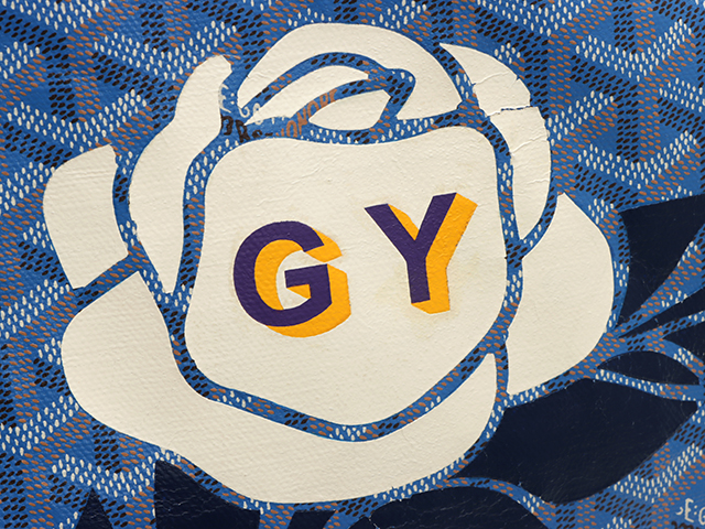 GOYARD ゴヤール サンルイGM トートバッグ ブルー PVC/カーフ イニシャル(GY)入り 【431】 image number 7