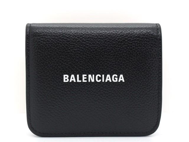 BALENCIAGA バレンシアガ 二つ折り財布 ミニ財布 ロゴ レザー ブラック 594216 【474】