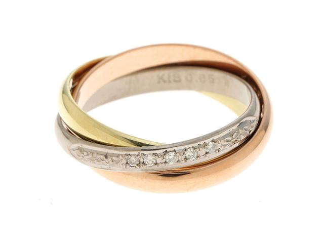 JEWELRY ノンブランドジュエリー 3連 リング 指輪 K18 3カラー ダイヤモンド 0.05ct 14号 【460】