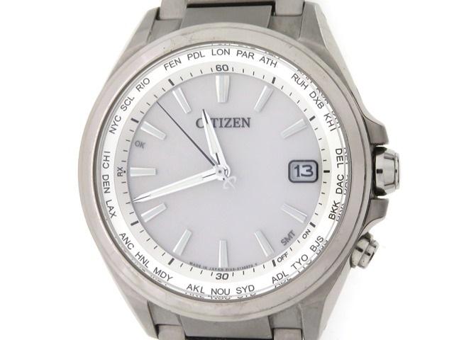 CITIZEN シチズン アテッサ エコドライブ メンズ 男性用腕時計 チタン ホワイト ソーラー電波 H149-S096073 【474】