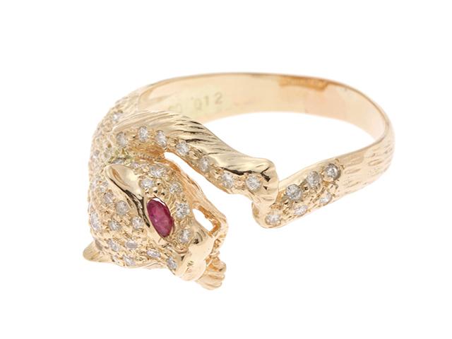 JEWELRY  ノンブランドジュエリー リング 指輪 イエローゴールド K18 ルビー0.12ct  ダイヤモンド0.6ct 15号【434】2141000284804