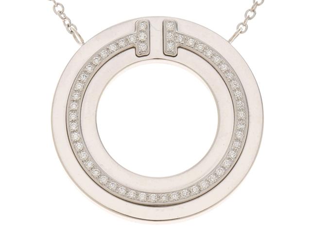 TIFFANY&CO ティファニー T サークル ダイヤモンド  ペンダント ネックレス ホワイトゴールド 重量6.7g【472】RK