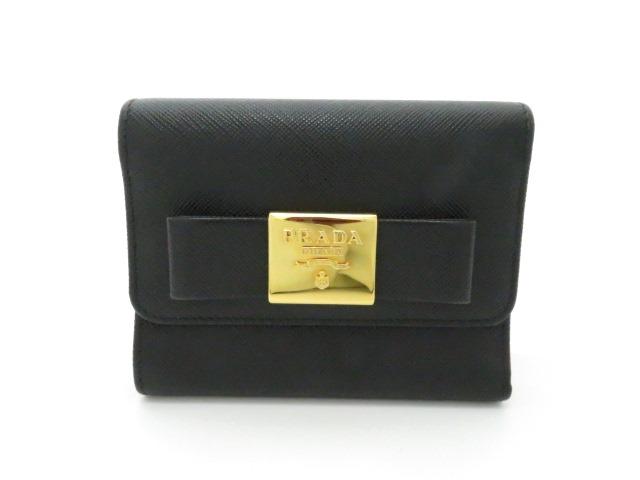 PRADA プラダ リボン三つ折財布 小物 サフィアーノ カーフ ブラック 1MH840【205】
