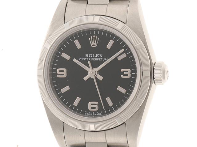 Y番 2002年頃製造 ROLEX ロレックス オイスターパーペチュアル 76030 レディース ステンレススチール ブラック文字盤 自動巻き 【474】