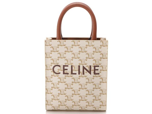 CELINE セリーヌ バッグ トリオンフ ミニバーティカルカバ 2WAYトート ホワイト PVC カーフ 【437】