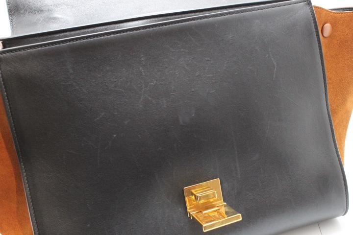 CELINE セリーヌ トラペーズ カーフスエード ライトブルー ブラック ブラウン【471】 image number 2