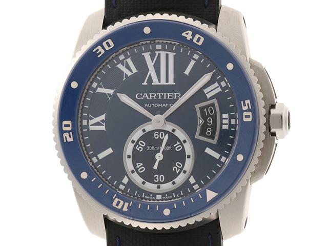 Cartier カルティエ 時計 カリブルダイバー WSCA0010 自動巻き カレンダー機能 回転ベゼル ブルー文字盤 ラバー/SS 男性用時計【431】