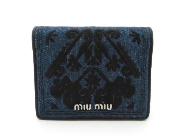 MIUMIU ミュウミュウ 二つ折財布 小物・財布 デニム ブルー 5MV204【473】