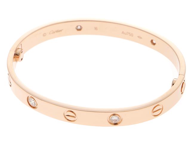 Cartier カルティエ ラブブレス ブレスレット バングル ラブBLハーフダイヤ PG(ピンクゴールド)4D(4ポイントダイヤモンド) 28.3g 16号 B6036016 【437】