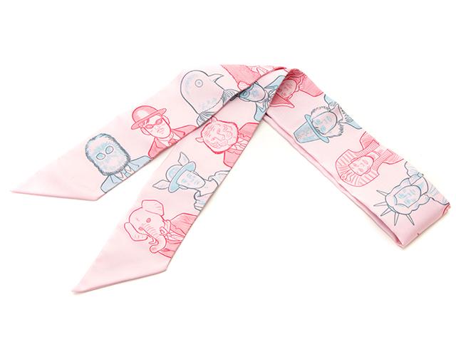 HERMES エルメス トゥイリー 衣料品 ピンク フェイス柄 シルク【430】2143000547958