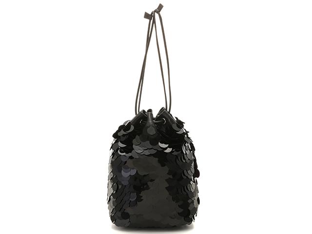 PRADA プラダ スパンコール巾着バッグ ブラック カーフ/スパンコール 1BF024【430】2143100307629