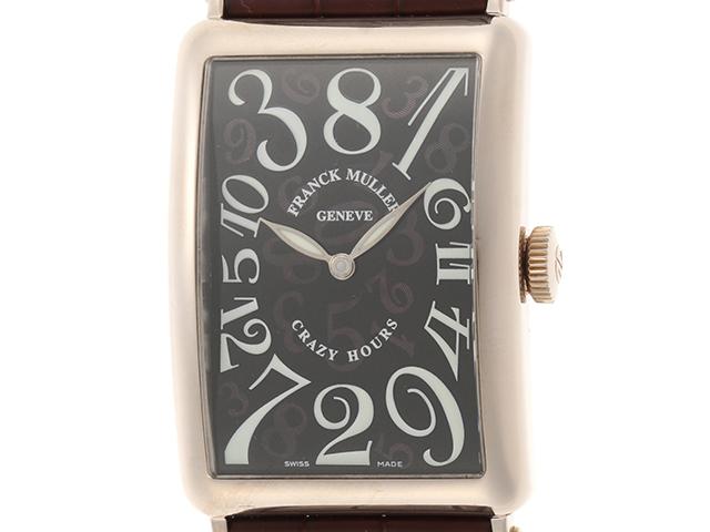 FRANCK MULLER フランクミュラー 時計 メンズ ロングアイランド クレイジーアワー 1200CH ブラウン革ベルト ホワイトゴールド【472】HU