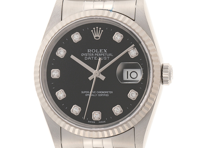 ROLEX ロレックス デイトジャスト ブラックダイヤ 10P ホワイトゴールド ステンレス WG SS 750 16234G Y番 2003年頃 2143100340077 【431】