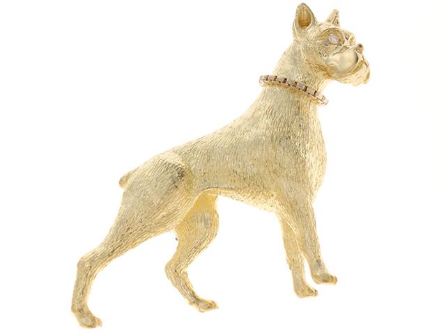 JEWELRY ノンブランドジュエリー 犬 デザイン ブローチK18イエローゴールド ダイヤモンド約0.02カラット 13.6g 【432】