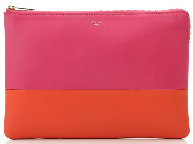 CELINE セリーヌ クラッチバッグ ピンク/オレンジ カーフ【430】2143500218921