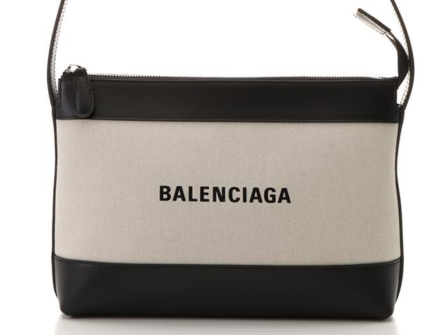 BALENCIAGA バレンシアガ 639497 ネイビー クロスボディバッグ ブラック /ナチュラル キャンパス/カーフ【434】