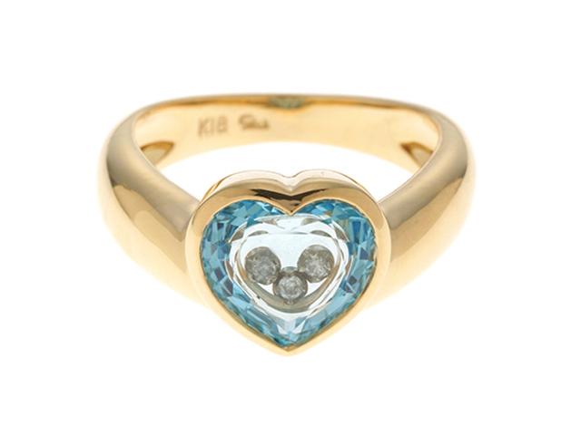 STAR JEWERY スタージュエリー 貴金属・宝石 指輪 K18イエローゴールド ブルートパーズ ダイヤモンド 9号 4.4g 【205】