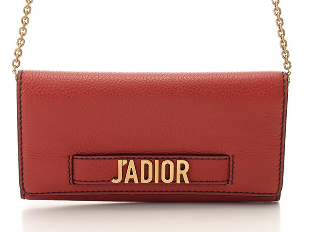 Dior ディオール  J'ADIORチェーンウォレット レッド カーフ 【437】