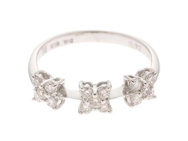 Ponte Vecchio ポンデヴェキオ リング 指輪 花 フラワーモチーフ K18ホワイトゴールド 2.0g ダイヤモンド0.32 8号 【472】HF