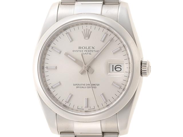 Z番(2006年頃製造) ROLEX ロレックス 時計 オイスターパーペチュアル デイト 115200 メンズ シルバー文字盤 SS ステンレス【472】HU