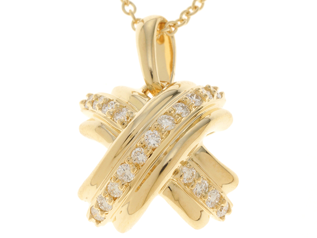 TIFFANY&CO ティファニー シグネチャー ネックレス K18YG イエローゴールド ダイヤモンド 【474】