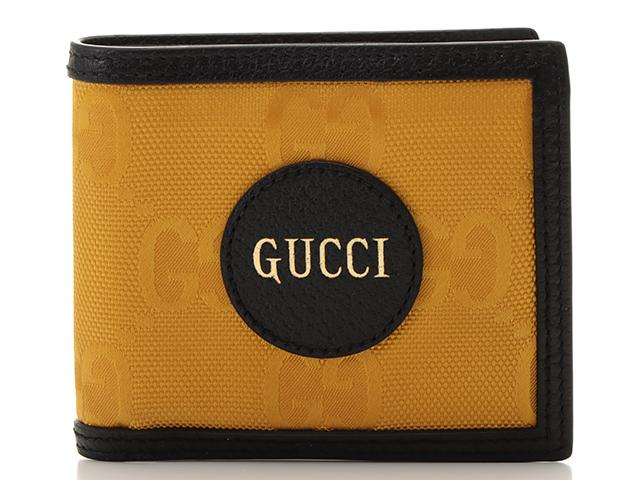 GUCCI グッチ グッチオフザグリッド 二つ折り財布 イエロー ブラック ナイロン レザー 625574 二つ折り財布 【471】